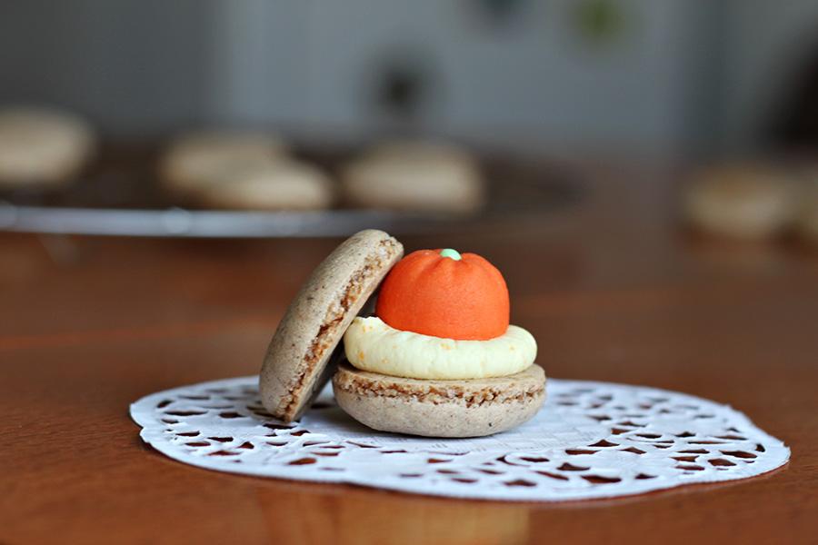 macaron with marzipan fruit