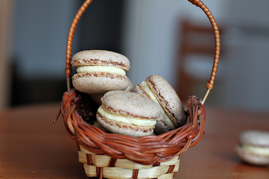 macarons in a basket